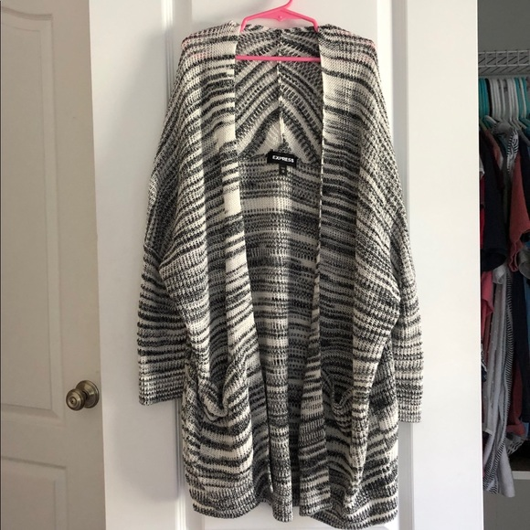Express Sweaters - Black and White Soft Cardigan